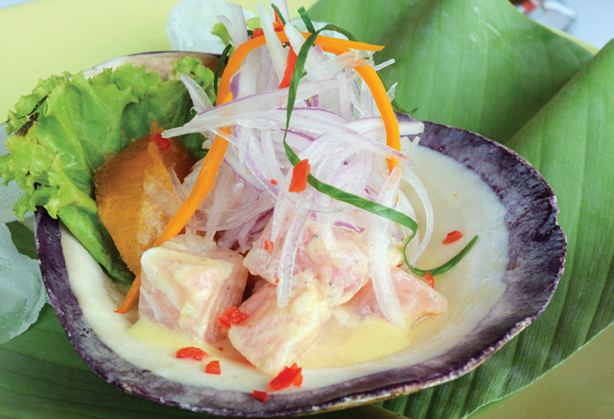 Doncella ceviche, regional Peruvian Amazon food, Delfin Amazon Cruises